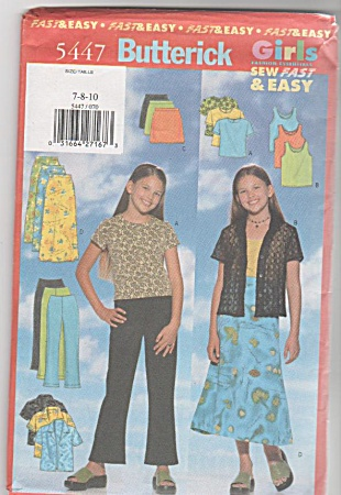 Butterick Pattern 5447 Girls Shirt Skirt Pant (Image1)
