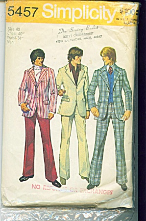 VINTAGE~MENS~PANTS~ JACKET~SZ 40~PATTERN (Image1)