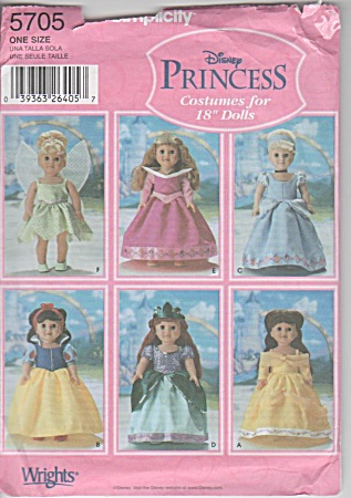 Simplicity 5705 - Disney Princess - 18 In Doll