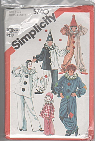 CHILD'S CLOWN COSTUME~VINTAGE~SZ 2-4~1982 (Image1)