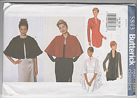 Misses - Cape - Jacket - Cover Up - Pattern - 5843 - 14-1