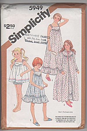 VINTAGE~5949~GIRLS Robe~PJ's~Baby-dolls~10-14 (Image1)