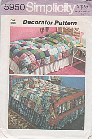 VINTAGE~70s~PUFF COVERLET PATTERN TWIN~FULL (Image1)