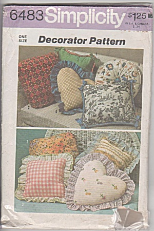 THROW PILLOWS ~Simplicity 6483 ©1974 (Image1)