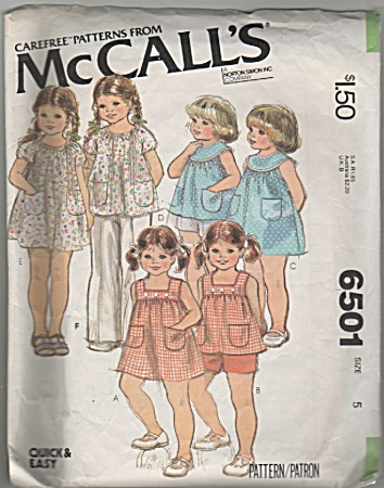 Mccalls - Sz 5 - Girls Summer Outfits - Oop - 6501