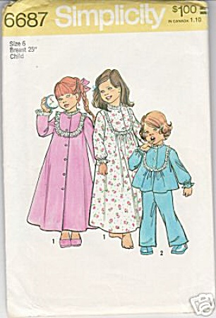 Vintage - Girls Sz6 - Pjs - Nightie - Robe - Uncut
