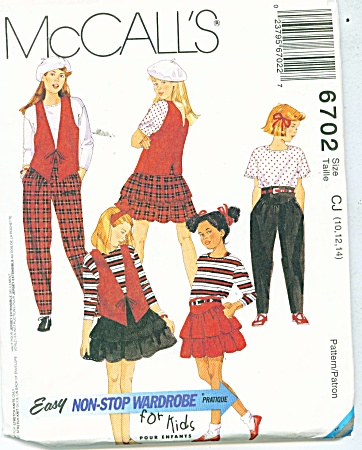 McCALLS WARDROBE FOR KIDS 6702 10,12,14 (Image1)
