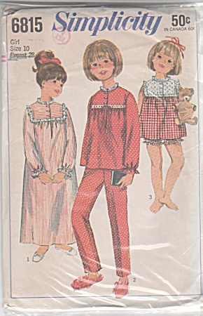 Vintage Simplicity Girls Nightgown & Pjs Patt