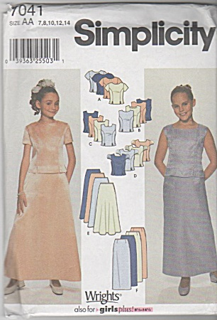 VINTAGE~FORMAL SKIRT &TOPS~SZ 7-14~UNCUT (Image1)