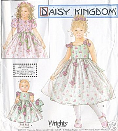 DAISY KINGDOM PATTERN GIRL / DOLL DRESS (Image1)