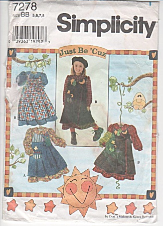 SIMPLICITY 7278~GIRLS~PINAFORE~DRESS PATTERN~ (Image1)