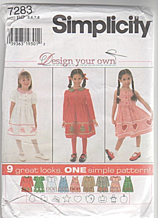 Simplicity 7283 - Design Your Own Dress - Sz5-8