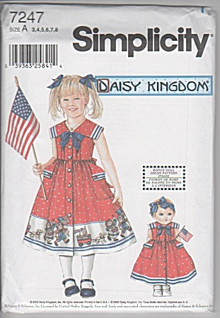 DAISY KINGDOM~GIRL ~DOLL DRESSES~7427~SZ3-8 (Image1)