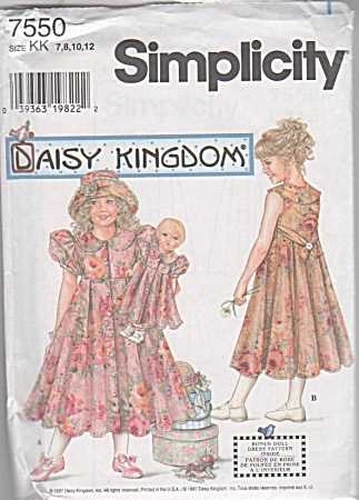 DAISY KINGDOM~Girls~doll dress pattern~UNCUT~ (Image1)