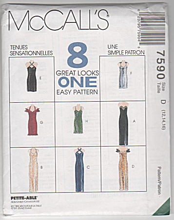 8 EVENING GOWNS~EASY~McCALLS 7590~ SZ 12-16 (Image1)