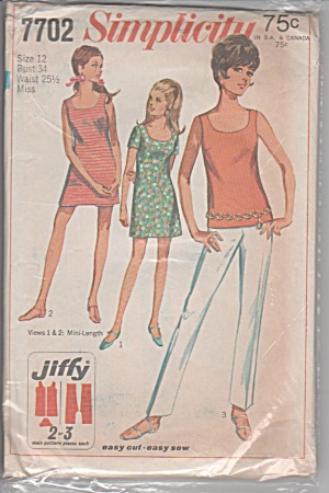 VINTAGE~SIMPLICITY~1968~JIFFY MINI DRESS PANT (Image1)