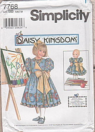 Daisy Kingdom - Pinafore - 7768 - Sz 5-8 - Uncut -