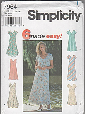 Simplici 7964 - Misses - 12-14-16 - 6 Dress Styles -