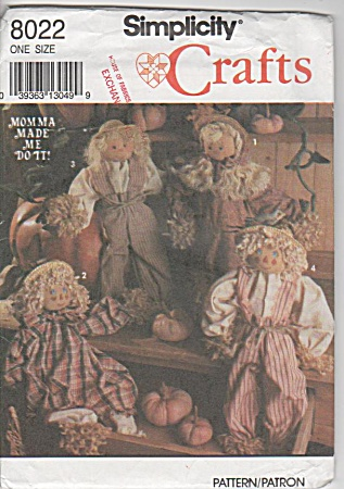 Cute - Scarecrow Dolls - 18 In - Simplicity8022 - Uc