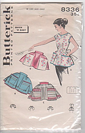 VINTAGE BUTTERICK APRON~PATTERNS ~1957 (Image1)