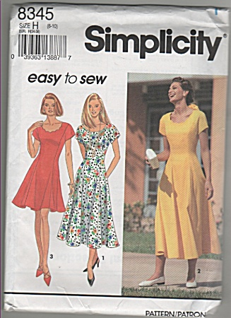 Simplicity - 8345 - Easy Sew Dress - Oop - Sz6-10