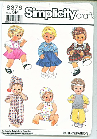 Simplicity Pattern 8376 Doll Clothes - Sm 13-14