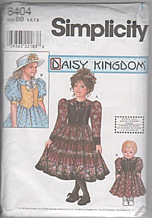 DAISY KINGDOM 8404~ SIZE 5-8 ~+DOLL DRESS~OOP (Image1)