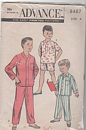 VINTAGE~ADVANCE Boys' Pajama~Pattern~SZ4 (Image1)