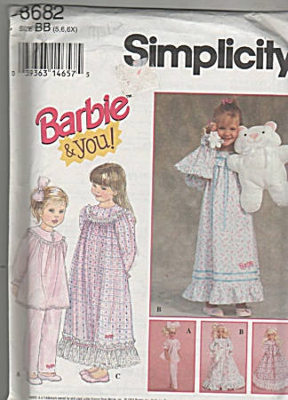 VINTAGE~BARBIE AND YOU~NIGHTIES~SZ5-6X~OOP (Image1)