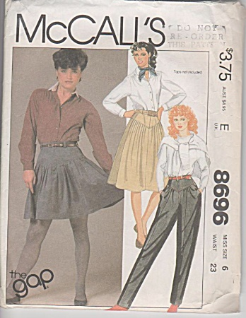 Mccalls - 1983 - The Gap Skirt Pants Pattern - Sz 6