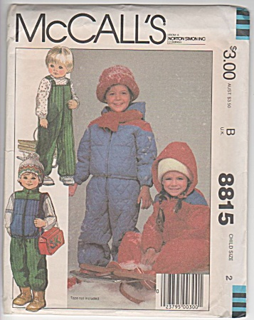 MCCALLS~UNCUT~CHILDS SZ 2~ SNOWSUIT~OVERALLS (Image1)
