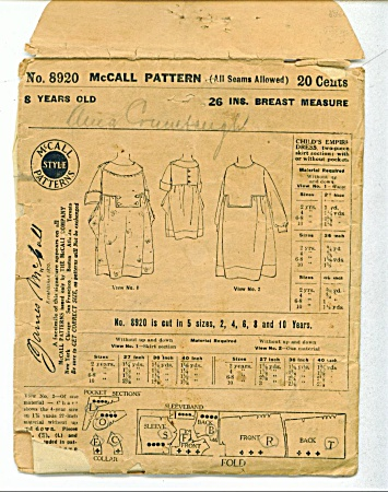 Mccall Pattern 8920 - Sz 8 - 98 Yrs Old