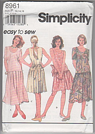 Simplicity 8961 - Dropped Waist - Sz12-14-16 - Oop