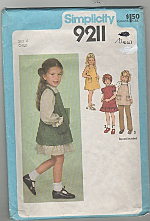 Simplicity - Girl Sz 6 - 9211 - Summer Clothes - Oop
