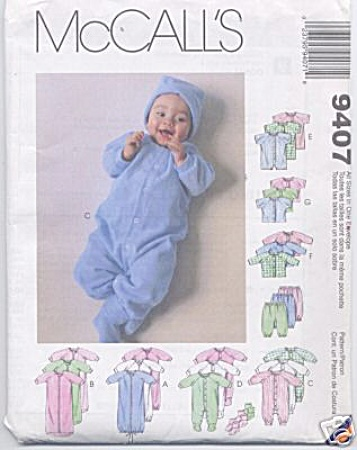 McCALLS COMPLETE LAYETTE PATTERN 9407 (Image1)