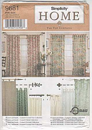 Tab Top - Curtains - Valance - Simplicity - 9681 - Oop
