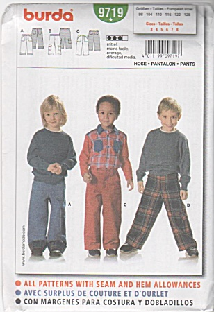 Burda Pattern~ 9719~Size 3-8 Boys' PANTS (Image1)