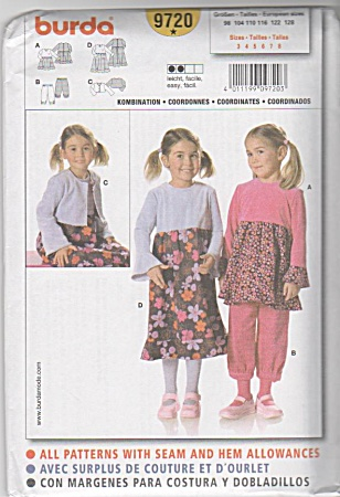 BURDA~ Pattern~ 9719~Size 3-8 GIRLS~OUTFITS (Image1)