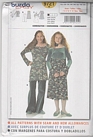 Burda Pattern 9721 Size 7-14jr Junior Dress
