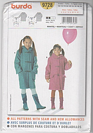 Vintage - Burda - Girls Lined Ccoat - Sz 4-12
