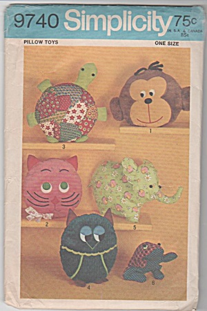 Vintage - Retro - Animal Pillow Toys - Oop - 1971 -