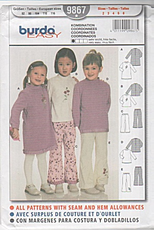 BURDA~GIRLS~DRESS~TOPS~PANTS~SZ2-6 UNCUT (Image1)