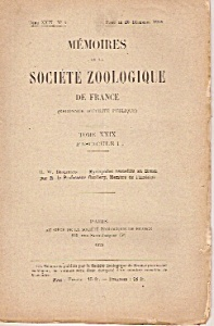 Memoires De La Societe Zoologique De France -dec.20, 1