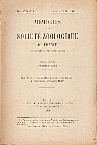 Memoires De La Societe Zoologique De Frqance - March 31