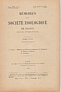 Memoires De La Societe Zoologique De France - 1932