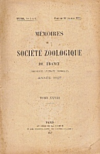 Memoires De La Societe Zoolique De France -1927