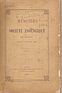 Memoires De La Societe Zoologique De France - 1891
