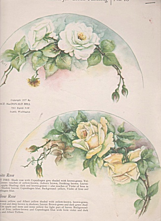 Vintage - Roses - Grace Bell - China Painting - 1957