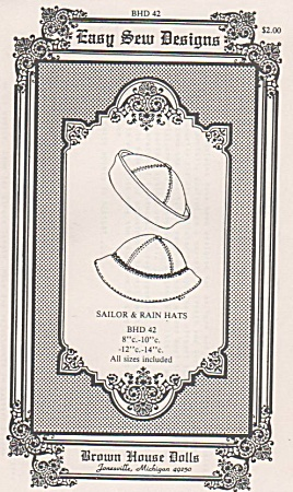 EASY SEW~SAILOR & RAIN HATS~ALL SZS~DOLLS (Image1)