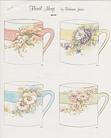 Vintage Barbara Jones - Floral Mugs - China Paint